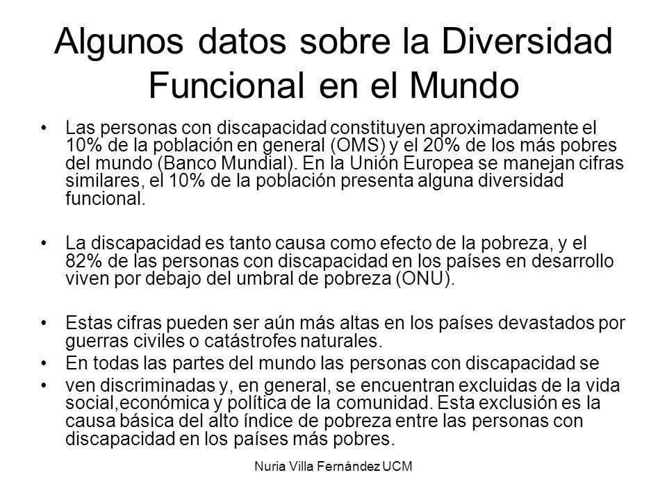 Nuria Villa Fernández UCM La Población con diversidad funcional en España Según datos de la EDDES-99: En España hay 3.528.221 personas con alguna diversidad funcional Constituyen un grupo heterogéneo en cuanto género, edad y tipo de diversidad funcional.