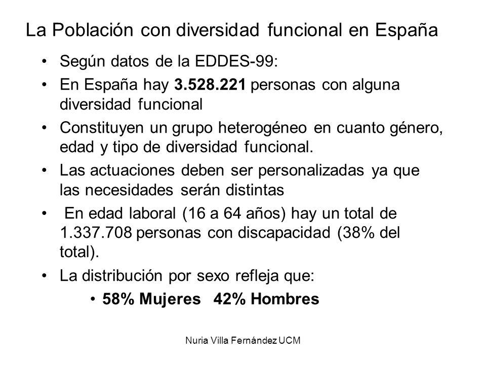 Nuria Villa Fernández UCM La Población con diversidad funcional en España Según datos de la EDDES-99: En España hay 3.528.221 personas con alguna dive