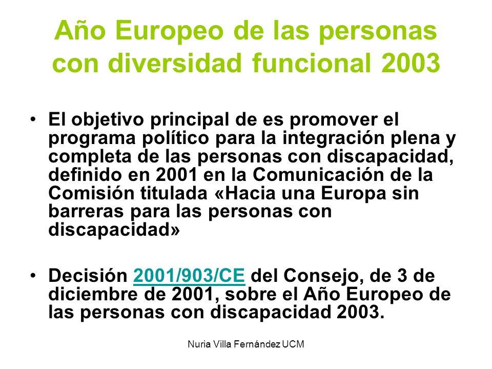 Nuria Villa Fernández UCM Año Europeo 2003 Objetivos Sensibilizar a la opinión pública acerca de los derechos de las personas discapacitadas y de la protección contra la discriminación, con arreglo a lo dispuesto en la Carta de los Derechos Fundamentales de la Unión.