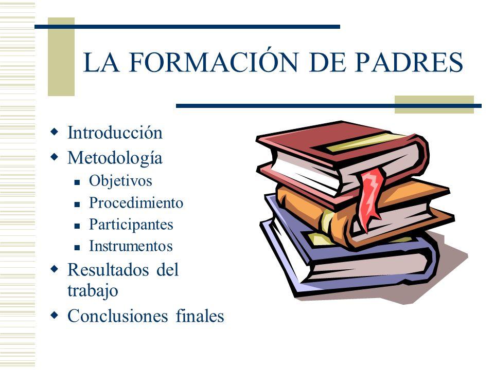 LA FORMACIÓN DE PADRES Introducción Metodología Objetivos Procedimiento Participantes Instrumentos Resultados del trabajo Conclusiones finales