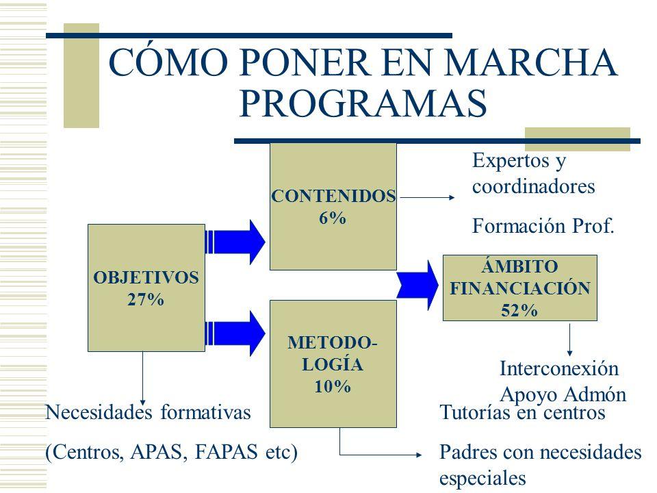 CÓMO PONER EN MARCHA PROGRAMAS OBJETIVOS 27% CONTENIDOS 6% METODO- LOGÍA 10% ÁMBITO FINANCIACIÓN 52% Expertos y coordinadores Formación Prof. Necesida