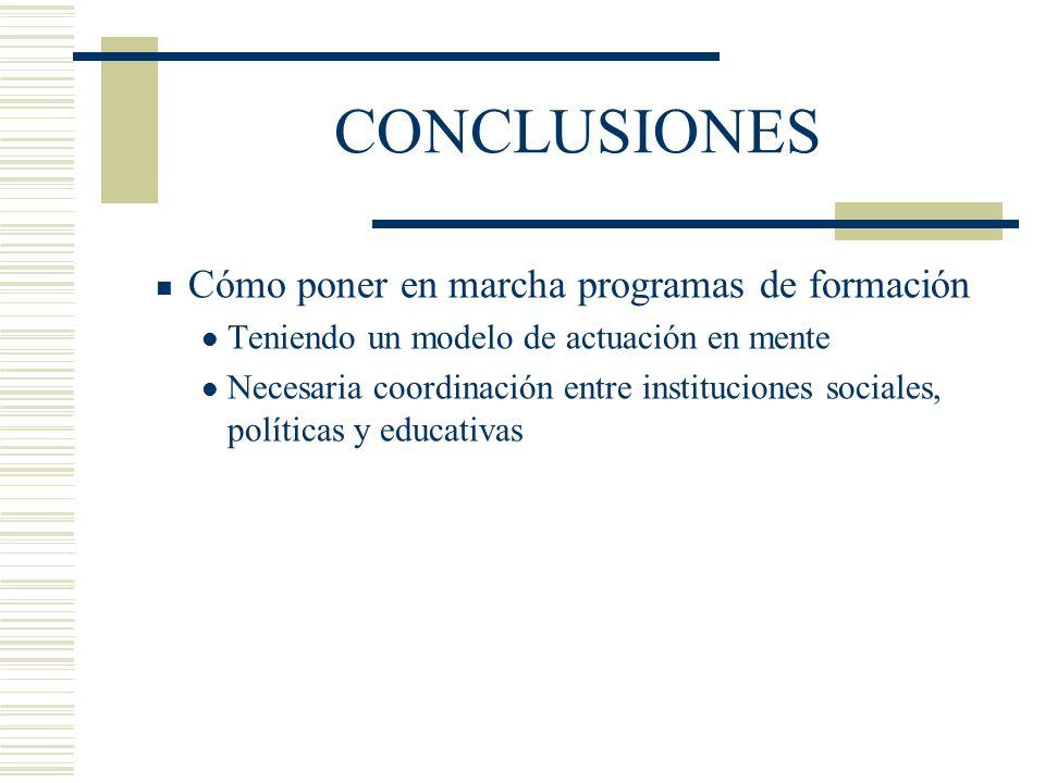 CONCLUSIONES Cómo poner en marcha programas de formación Teniendo un modelo de actuación en mente Necesaria coordinación entre instituciones sociales, políticas y educativas
