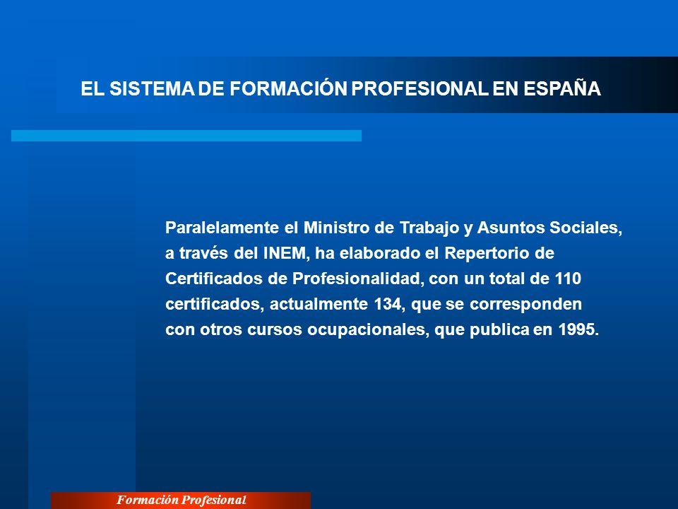 Formación Profesional EL SISTEMA DE FORMACIÓN PROFESIONAL EN ESPAÑA Paralelamente el Ministro de Trabajo y Asuntos Sociales, a través del INEM, ha ela
