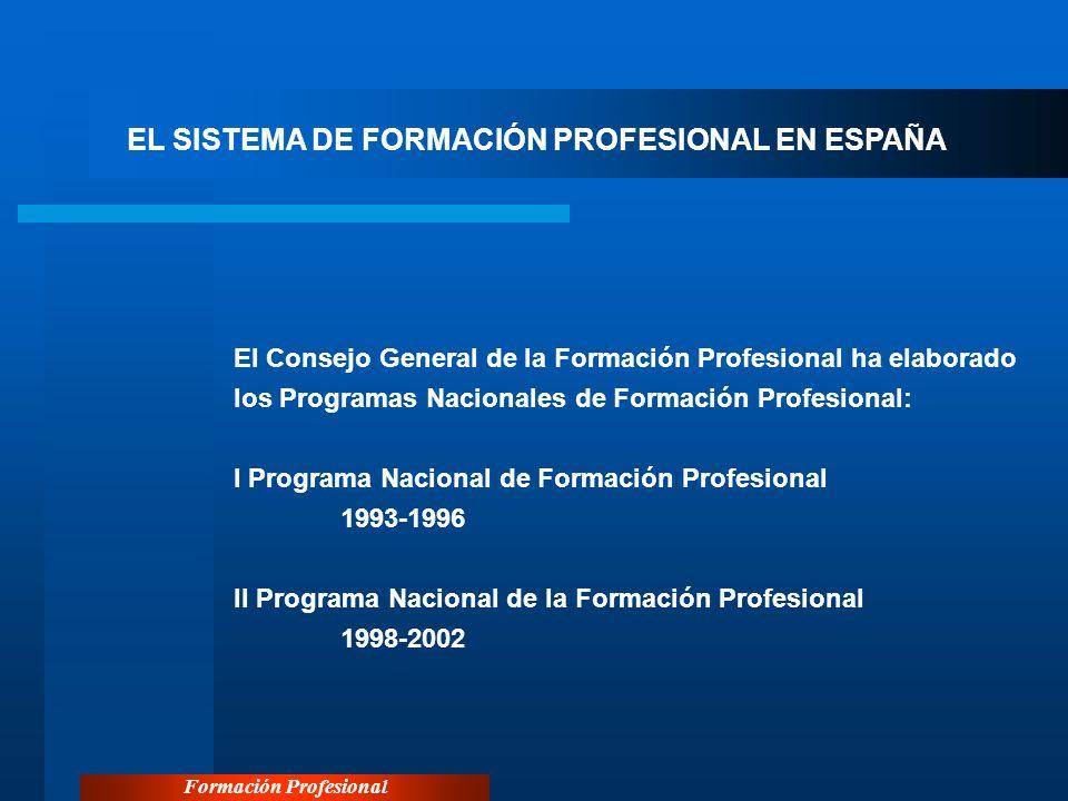 Formación Profesional EL SISTEMA DE FORMACIÓN PROFESIONAL EN ESPAÑA El Consejo General de la Formación Profesional ha elaborado los Programas Nacional