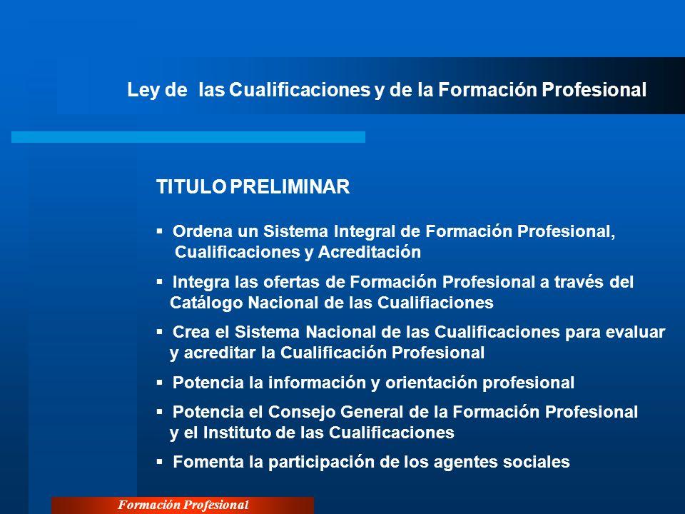 Formación Profesional Ley de las Cualificaciones y de la Formación Profesional TITULO PRELIMINAR Ordena un Sistema Integral de Formación Profesional,