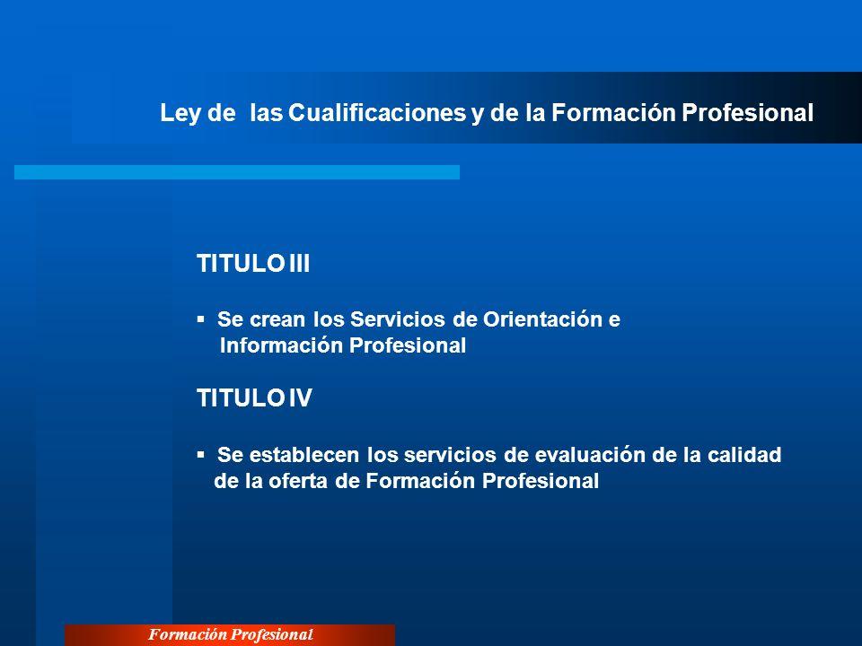 Formación Profesional Ley de las Cualificaciones y de la Formación Profesional TITULO III Se crean los Servicios de Orientación e Información Profesio