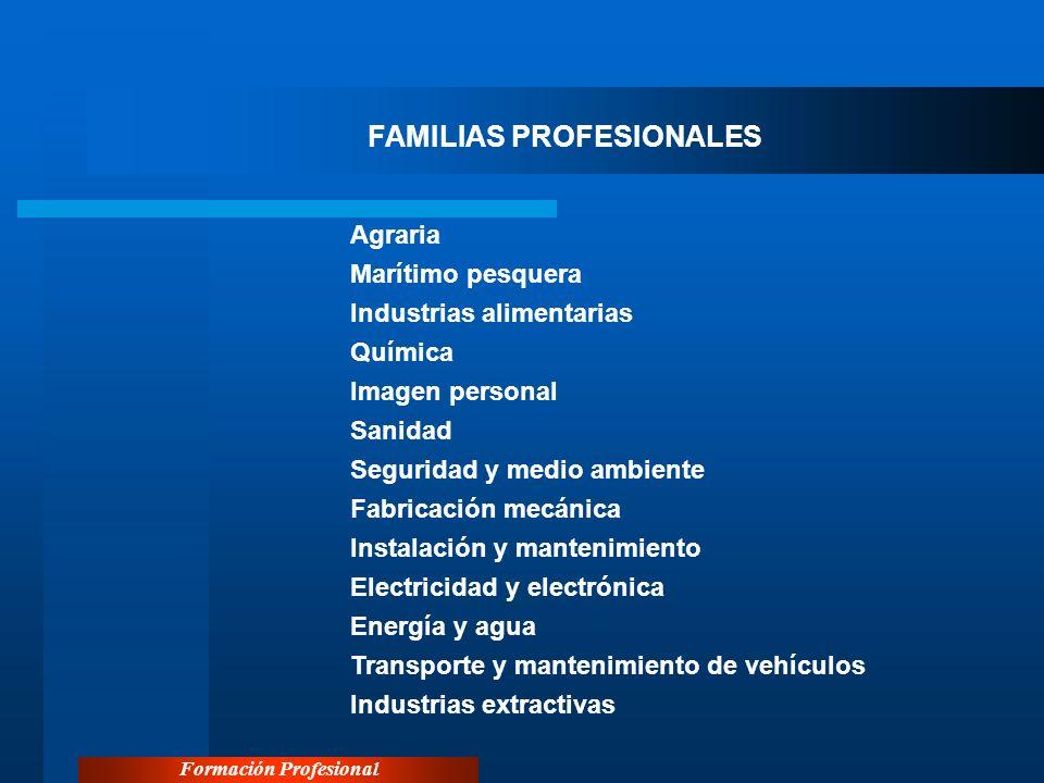 Formación Profesional FAMILIAS PROFESIONALES Agraria Marítimo pesquera Industrias alimentarias Química Imagen personal Sanidad Seguridad y medio ambie
