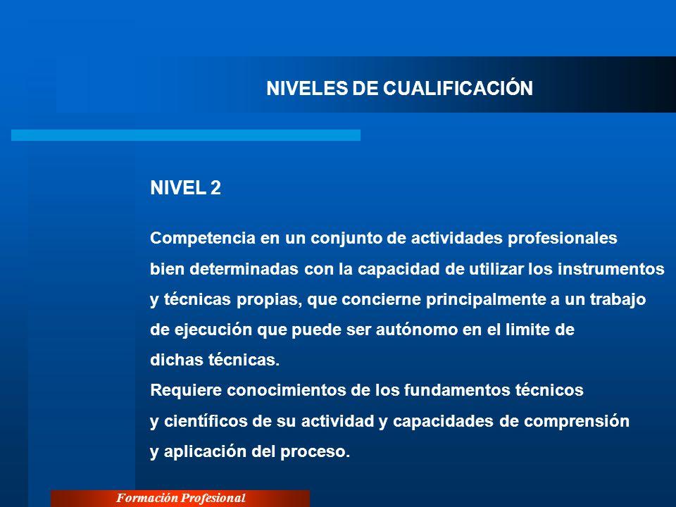Formación Profesional NIVELES DE CUALIFICACIÓN NIVEL 2 Competencia en un conjunto de actividades profesionales bien determinadas con la capacidad de u