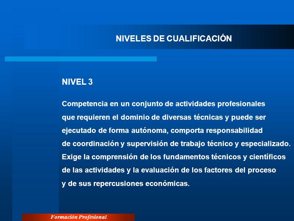 Formación Profesional NIVELES DE CUALIFICACIÓN NIVEL 3 Competencia en un conjunto de actividades profesionales que requieren el dominio de diversas té