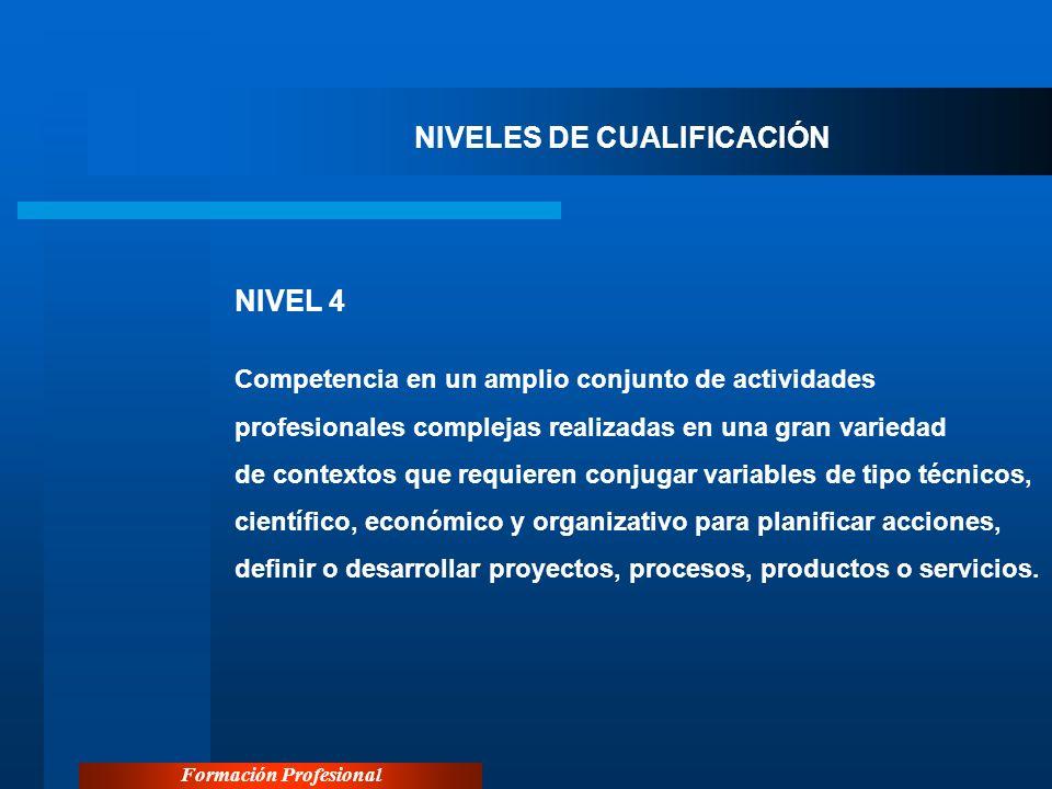 Formación Profesional NIVELES DE CUALIFICACIÓN NIVEL 4 Competencia en un amplio conjunto de actividades profesionales complejas realizadas en una gran