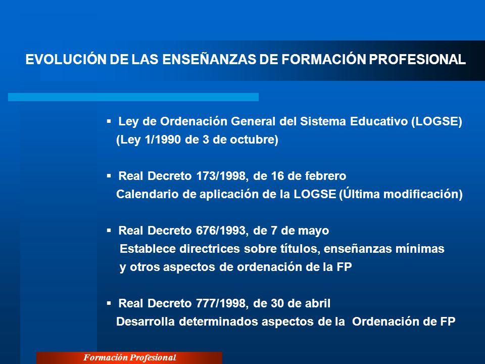 Formación Profesional EL SISTEMA DE FORMACIÓN PROFESIONAL EN ESPAÑA En 1999 se crea el Instituto Nacional de las Cualificaciones, adscrito al Ministerio de Trabajo y Asuntos Sociales, (RD 375/99, de 5 de marzo), actualmente al MEC, que tiene los siguientes objetivos: Observación de las cualificaciones y su evolución Determinación de las cualificaciones Acreditación de las cualificaciones Desarrollo de la integración de las cualificaciones profesionales Seguimiento y evaluación del Programa Nacional de la Formación Profesional.