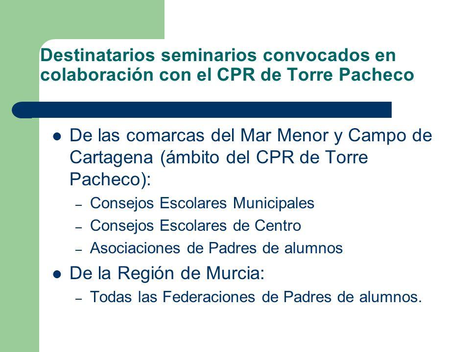 Destinatarios seminarios convocados en colaboración con el CPR de Torre Pacheco De las comarcas del Mar Menor y Campo de Cartagena (ámbito del CPR de