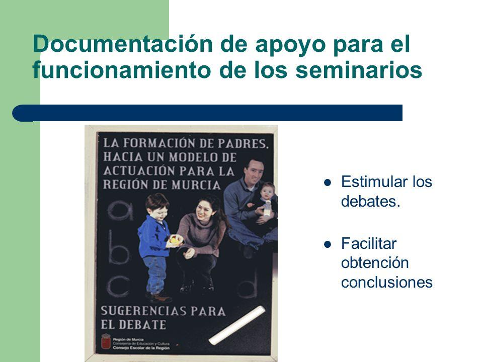 Documentación de apoyo para el funcionamiento de los seminarios Estimular los debates. Facilitar obtención conclusiones