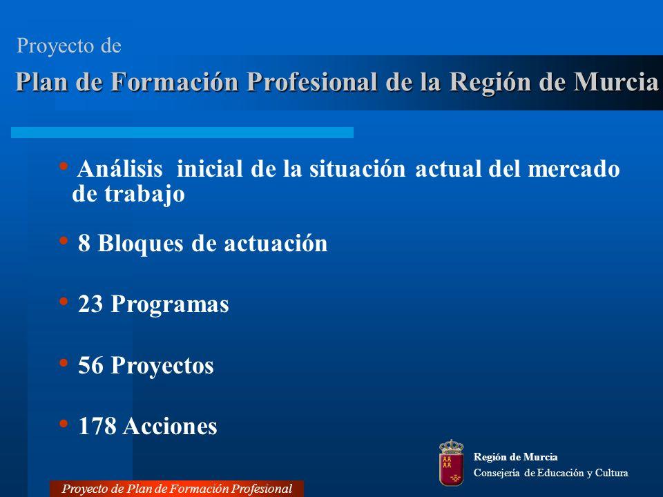 Región de Murcia Consejería de Educación y Cultura Análisis inicial de la situación actual del mercado de trabajo 8 Bloques de actuación 23 Programas 56 Proyectos 178 Acciones Proyecto de Plan de Formación Profesional Plan de Formación Profesional de la Región de Murcia Proyecto de