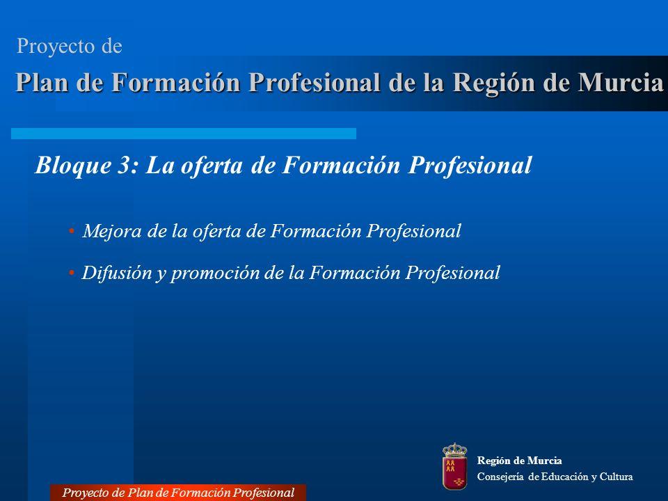 Plan de Formación Profesional de la Región de Murcia Bloque 3: La oferta de Formación Profesional Mejora de la oferta de Formación Profesional Difusión y promoción de la Formación Profesional Región de Murcia Consejería de Educación y Cultura Proyecto de Plan de Formación Profesional Proyecto de
