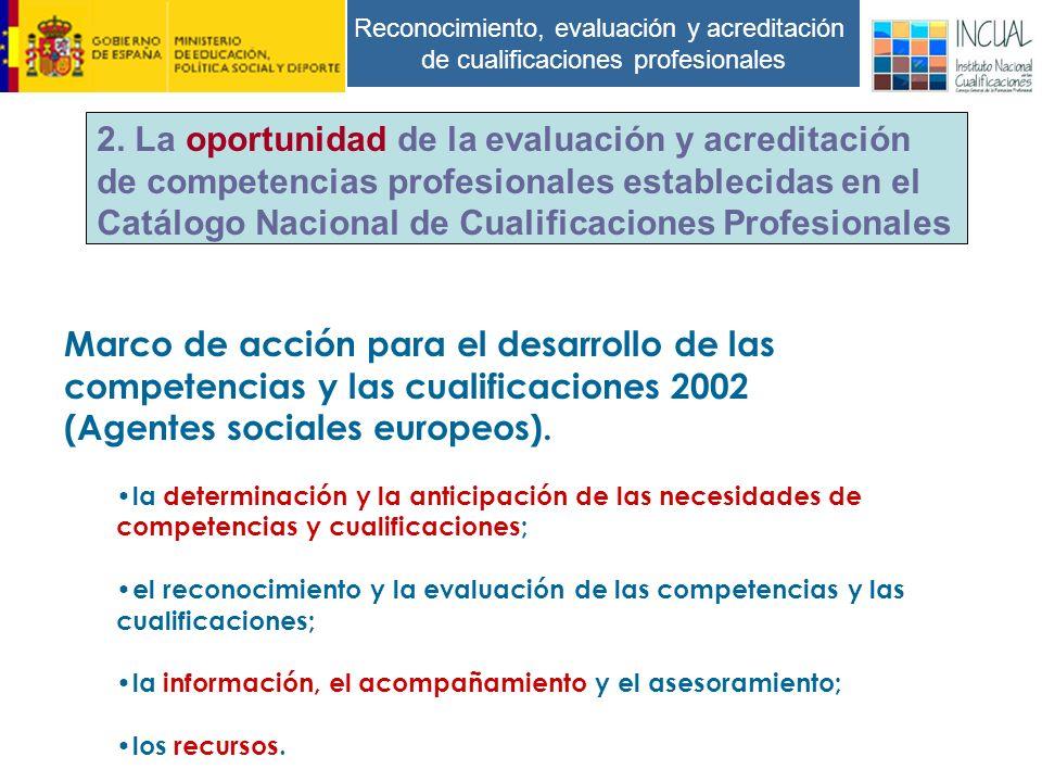 Reconocimiento, evaluación y acreditación de cualificaciones profesionales Marco de acción para el desarrollo de las competencias y las cualificaciones 2002 (Agentes sociales europeos).