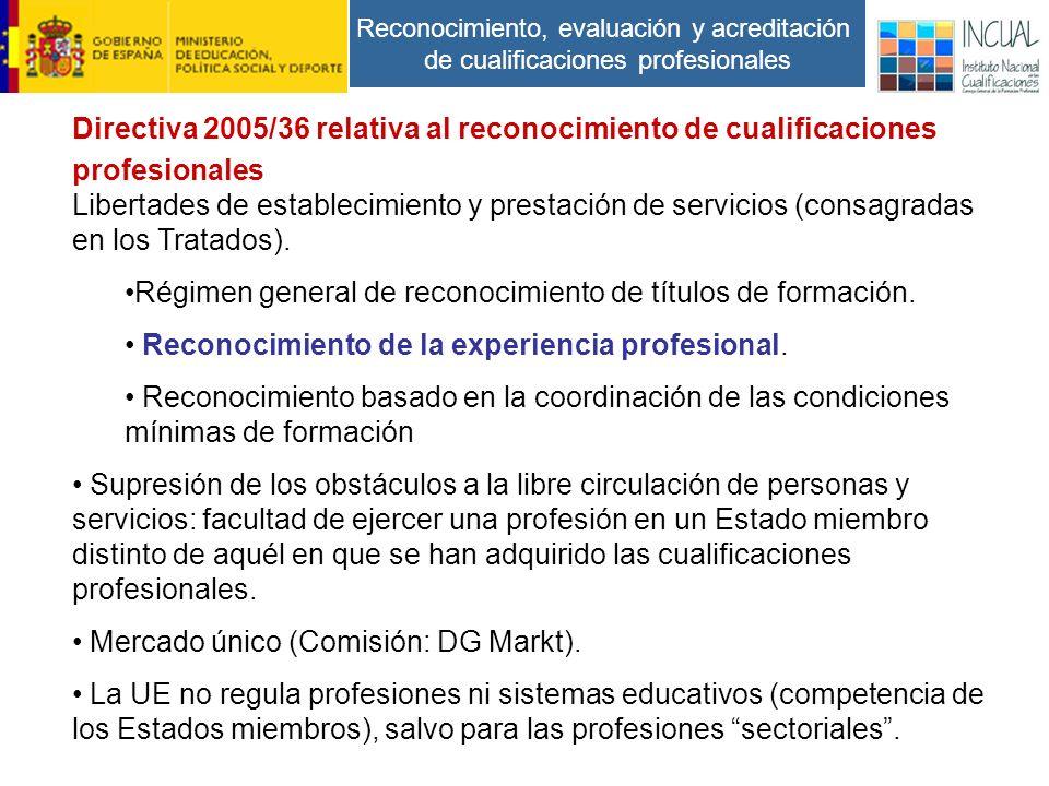 Reconocimiento, evaluación y acreditación de cualificaciones profesionales Directiva 2005/36 relativa al reconocimiento de cualificaciones profesionales Libertades de establecimiento y prestación de servicios (consagradas en los Tratados).