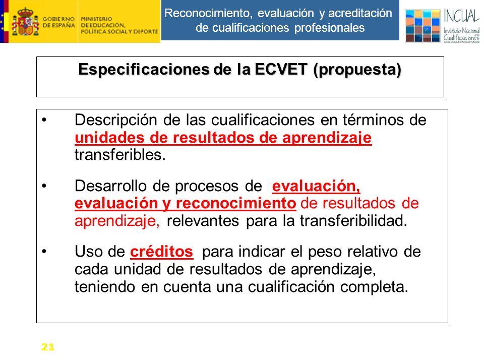 Reconocimiento, evaluación y acreditación de cualificaciones profesionales Especificaciones de la ECVET (propuesta) Descripción de las cualificaciones en términos de unidades de resultados de aprendizaje transferibles.