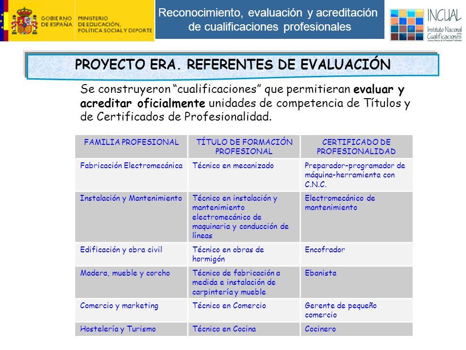 Reconocimiento, evaluación y acreditación de cualificaciones profesionales PROYECTO ERA.