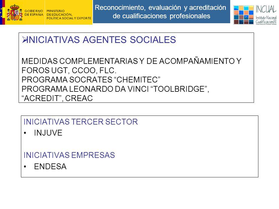 Reconocimiento, evaluación y acreditación de cualificaciones profesionales INICIATIVAS AGENTES SOCIALES MEDIDAS COMPLEMENTARIAS Y DE ACOMPAÑAMIENTO Y FOROS UGT, CCOO, FLC.