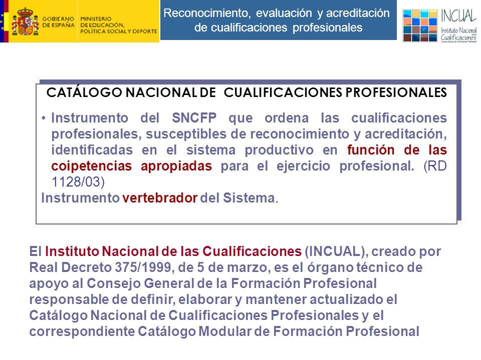 Reconocimiento, evaluación y acreditación de cualificaciones profesionales Instrumento del SNCFP que ordena las cualificaciones profesionales, susceptibles de reconocimiento y acreditación, identificadas en el sistema productivo en función de las coipetencias apropiadas para el ejercicio profesional.