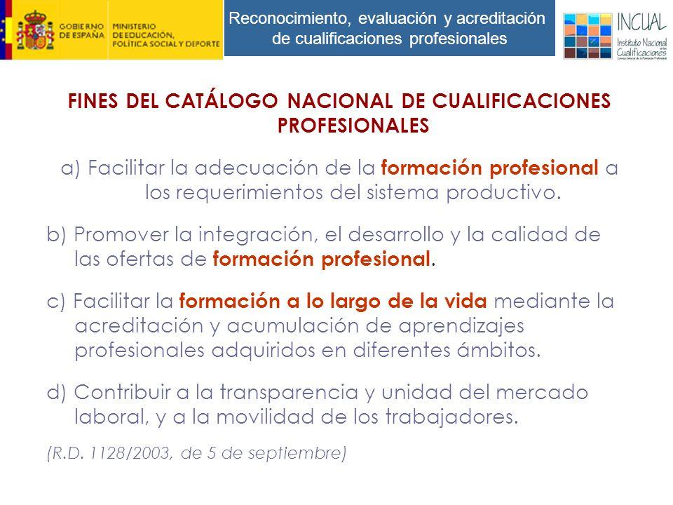 Reconocimiento, evaluación y acreditación de cualificaciones profesionales FINES DEL CATÁLOGO NACIONAL DE CUALIFICACIONES PROFESIONALES a) Facilitar la adecuación de la formación profesional a los requerimientos del sistema productivo.