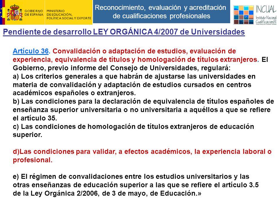 Reconocimiento, evaluación y acreditación de cualificaciones profesionales Artículo 36.