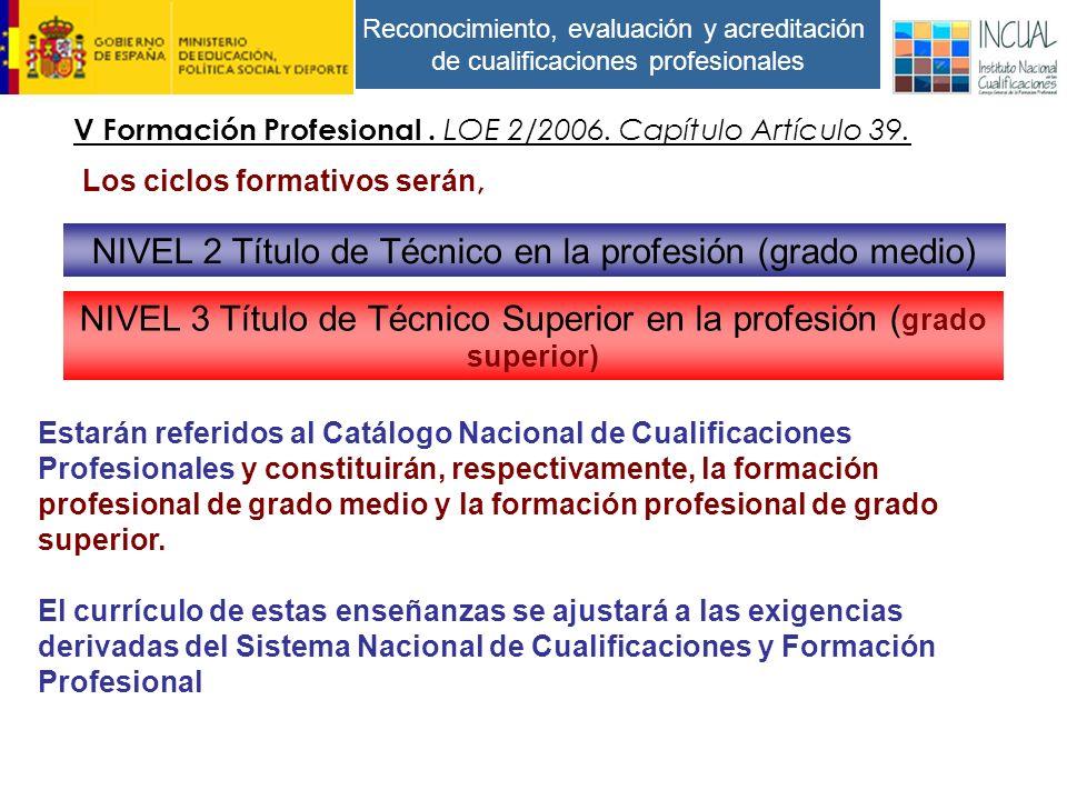 Reconocimiento, evaluación y acreditación de cualificaciones profesionales Los ciclos formativos serán, V Formación Profesional.