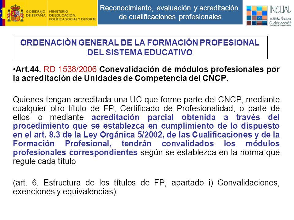 Reconocimiento, evaluación y acreditación de cualificaciones profesionales Art.44.