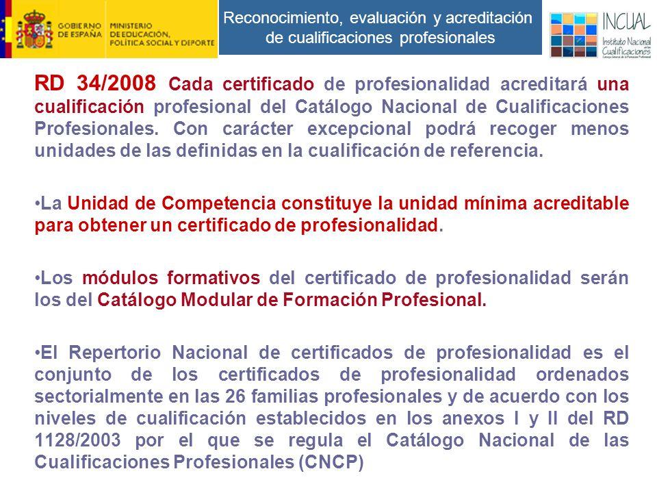 Reconocimiento, evaluación y acreditación de cualificaciones profesionales RD 34/2008 Cada certificado de profesionalidad acreditará una cualificación profesional del Catálogo Nacional de Cualificaciones Profesionales.