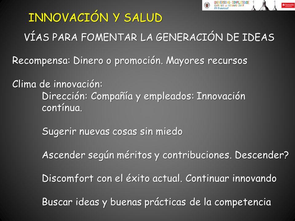 Recompensa: Dinero o promoción. Mayores recursos Clima de innovación: Dirección: Compañía y empleados: Innovación contínua. Sugerir nuevas cosas sin m