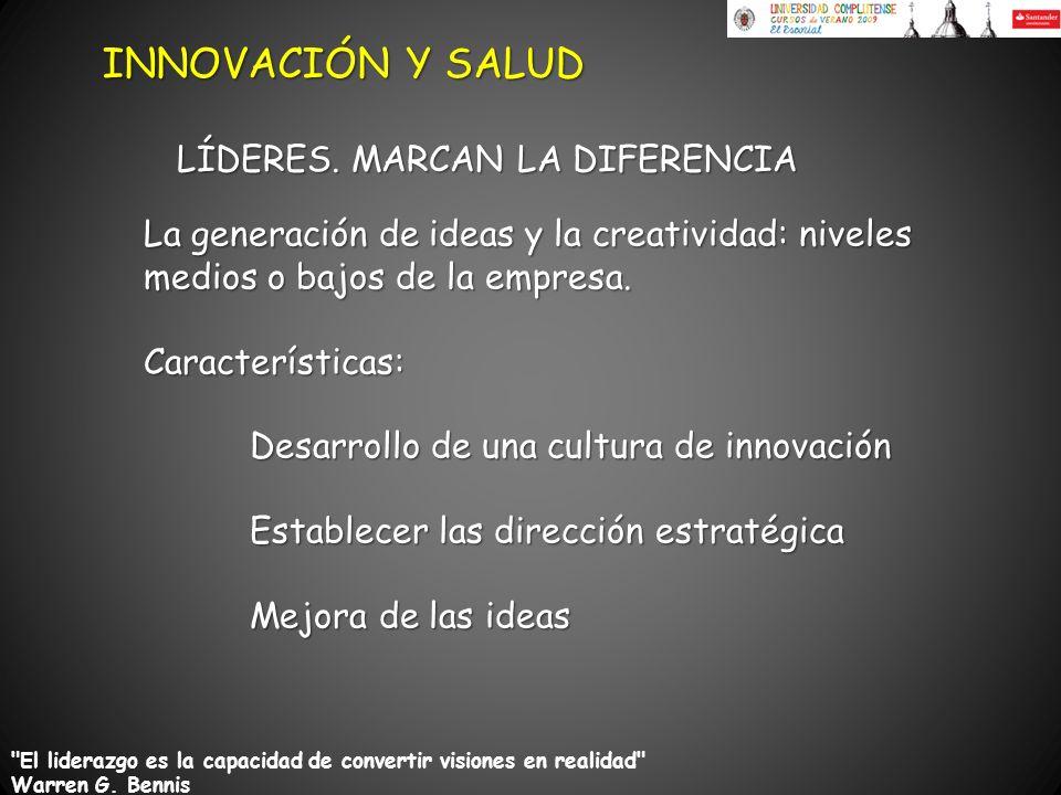 La generación de ideas y la creatividad: niveles medios o bajos de la empresa. Características: Desarrollo de una cultura de innovación Establecer las