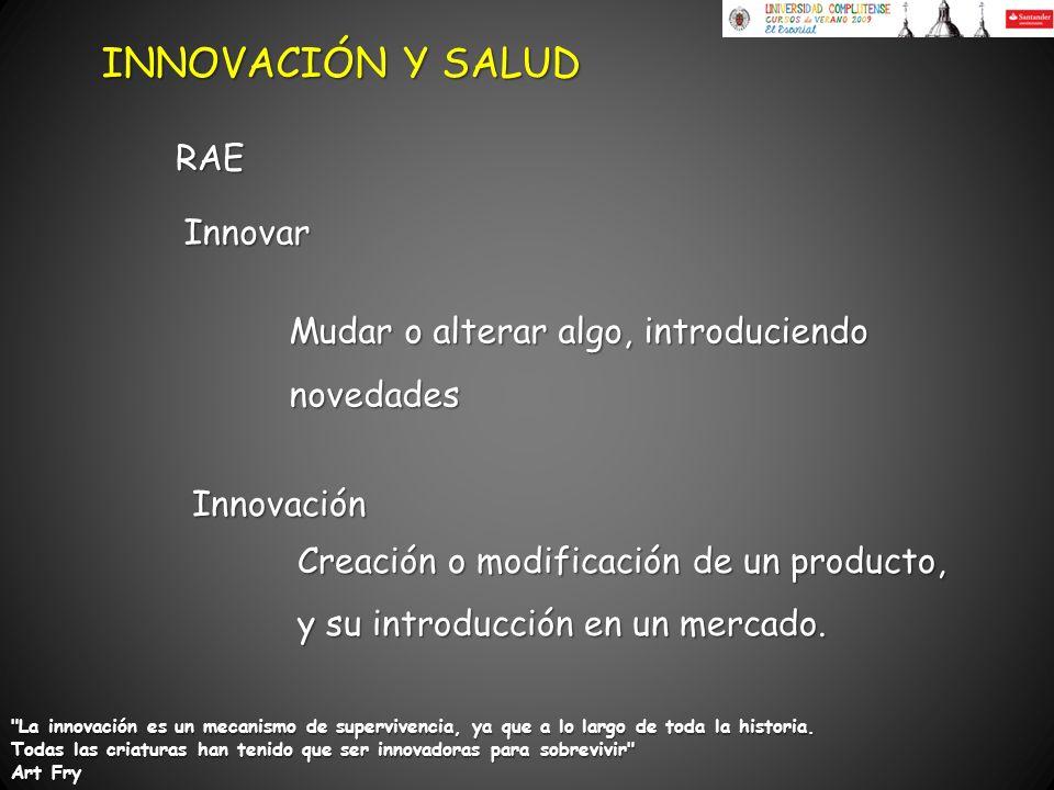 Innovación Creación o modificación de un producto, y su introducción en un mercado. Innovar Mudar o alterar algo, introduciendo novedades Mudar o alte