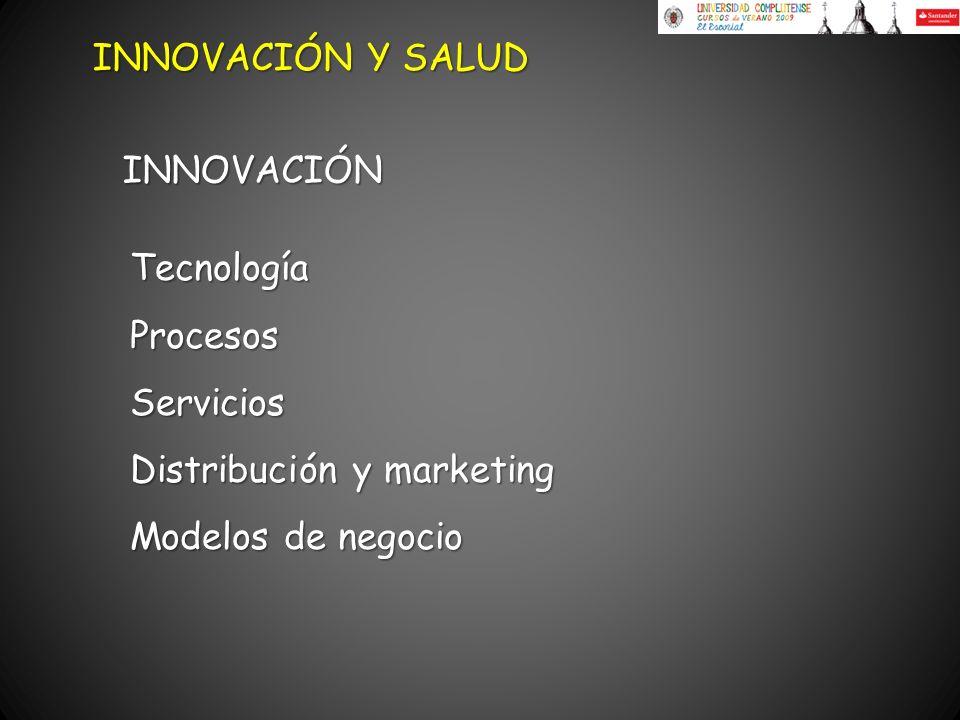 TecnologíaProcesosServicios Distribución y marketing Modelos de negocio INNOVACIÓN Y SALUD INNOVACIÓN