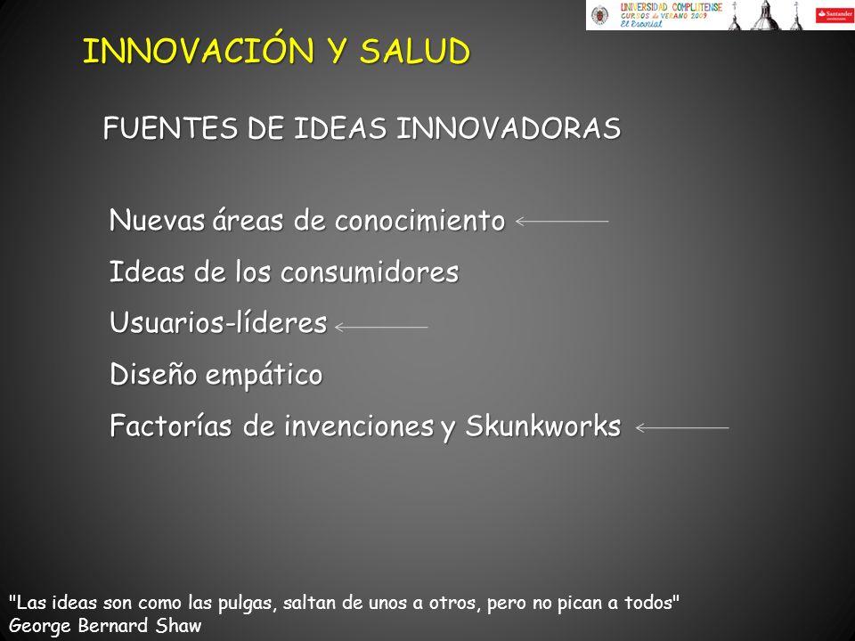 Nuevas áreas de conocimiento Ideas de los consumidores Usuarios-líderes Diseño empático Factorías de invenciones y Skunkworks FUENTES DE IDEAS INNOVAD
