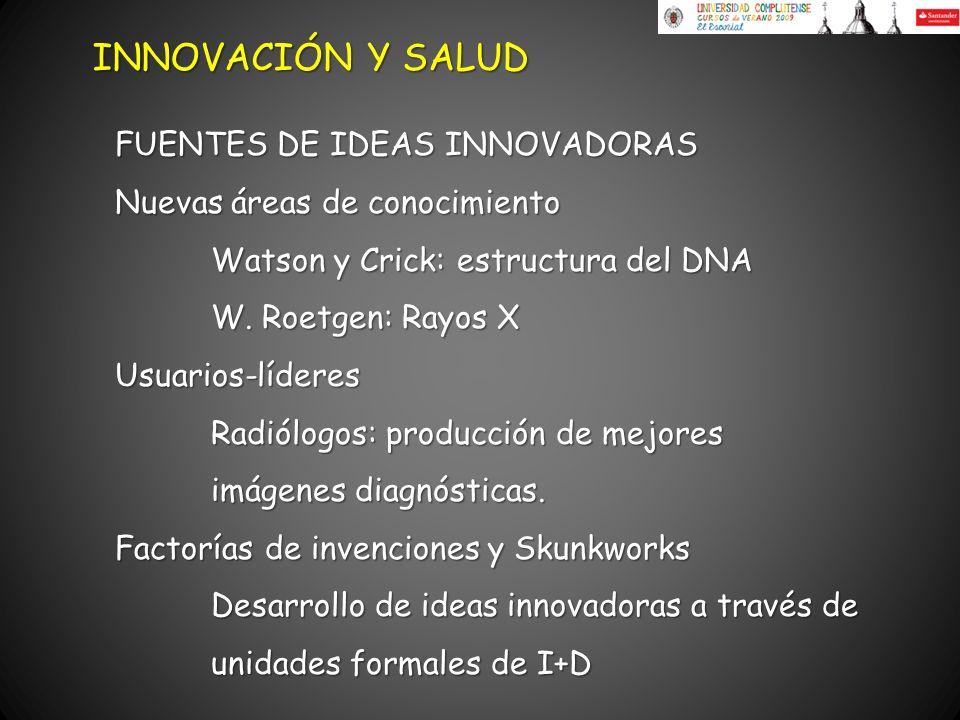 Nuevas áreas de conocimiento Watson y Crick: estructura del DNA W. Roetgen: Rayos X Usuarios-líderes Radiólogos: producción de mejores imágenes diagnó