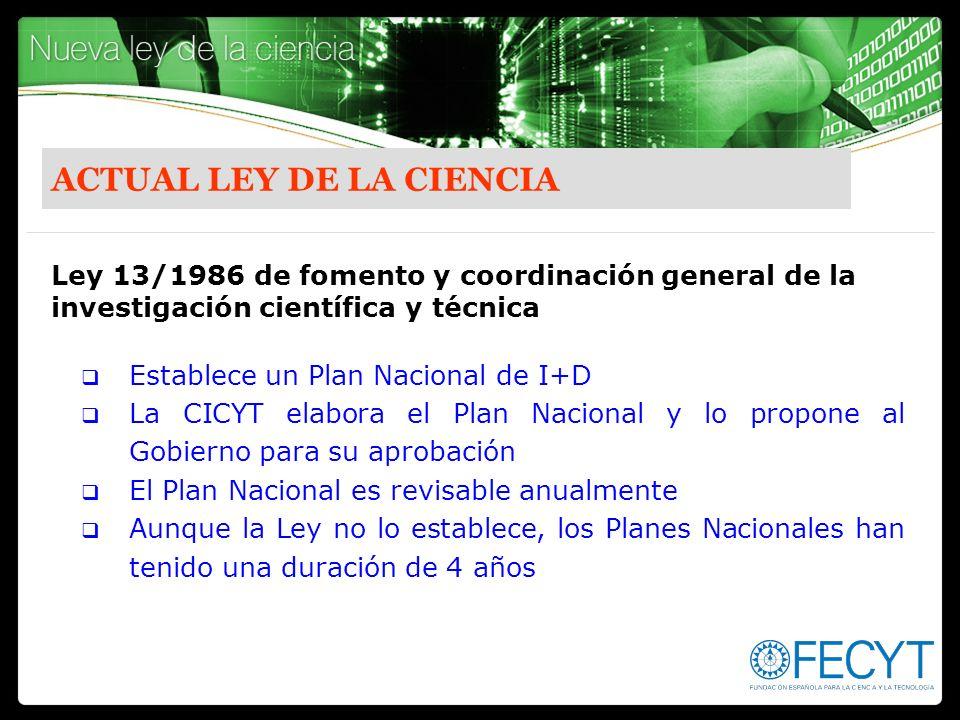 ACTUAL LEY DE LA CIENCIA Establece un Plan Nacional de I+D La CICYT elabora el Plan Nacional y lo propone al Gobierno para su aprobación El Plan Nacio