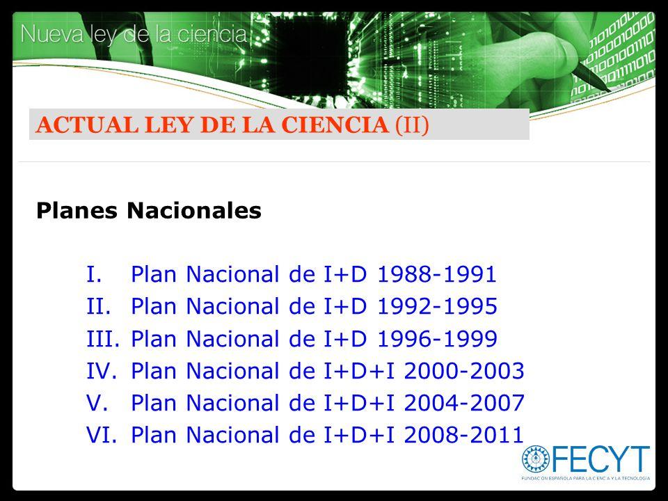 ACTUAL LEY DE LA CIENCIA (II) I.Plan Nacional de I+D 1988-1991 II.Plan Nacional de I+D 1992-1995 III.Plan Nacional de I+D 1996-1999 IV.Plan Nacional d