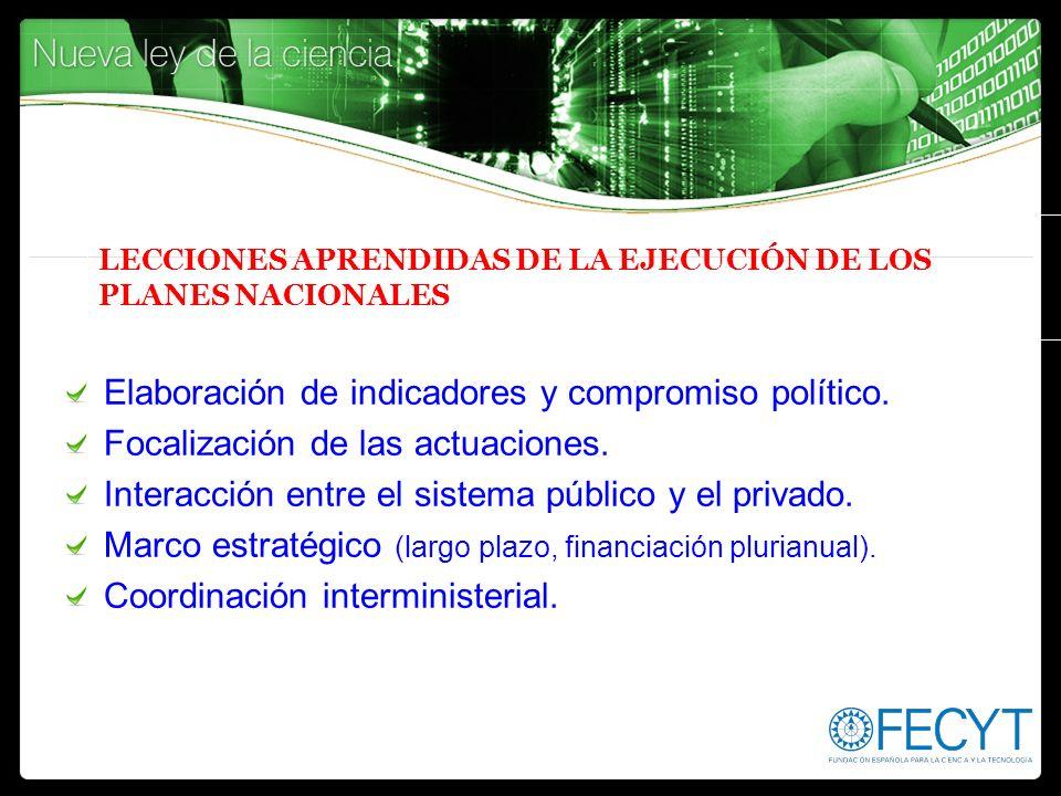 LECCIONES APRENDIDAS DE LA EJECUCIÓN DE LOS PLANES NACIONALES Elaboración de indicadores y compromiso político. Focalización de las actuaciones. Inter