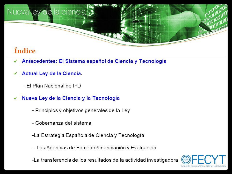 Índice Antecedentes: El Sistema español de Ciencia y Tecnología Actual Ley de la Ciencia. - El Plan Nacional de I+D Nueva Ley de la Ciencia y la Tecno