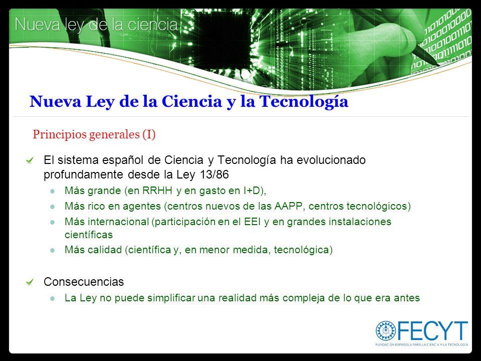 Nueva Ley de la Ciencia y la Tecnología Principios generales (I) El sistema español de Ciencia y Tecnología ha evolucionado profundamente desde la Ley