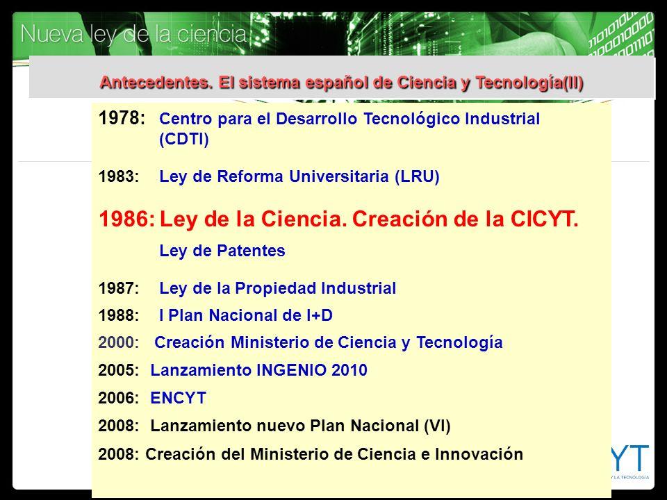 1978: Centro para el Desarrollo Tecnológico Industrial (CDTI) 1983:Ley de Reforma Universitaria (LRU) 1986:Ley de la Ciencia. Creación de la CICYT. Le