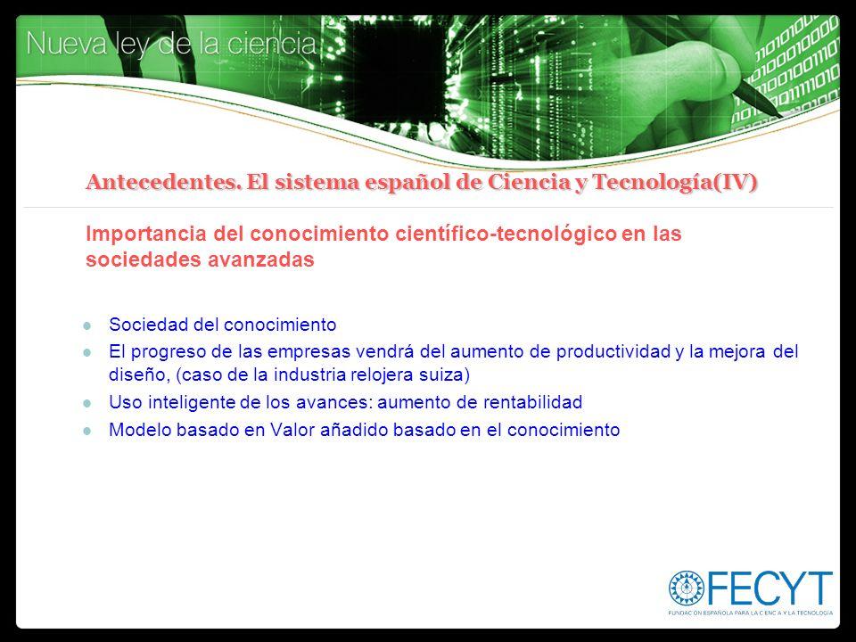 Antecedentes. El sistema español de Ciencia y Tecnología(IV) Antecedentes. El sistema español de Ciencia y Tecnología(IV) Importancia del conocimiento