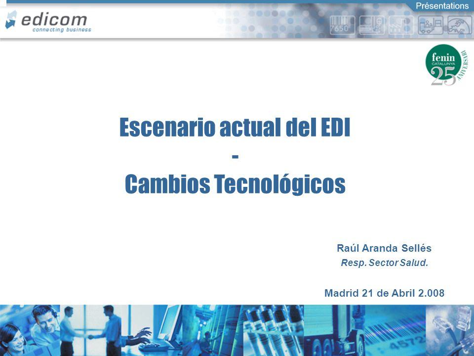 Connecting Business Escenario actual del EDI - Cambios Tecnológicos Raúl Aranda Sellés Resp. Sector Salud. Madrid 21 de Abril 2.008