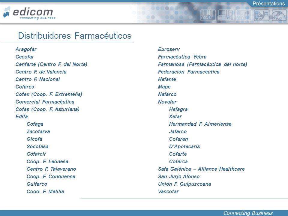 Connecting Business Distribuidores Farmacéuticos Aragofar Cecofar Cenfarte (Centro F. del Norte) Centro F. de Valencia Centro F. Nacional Cofares Cofe