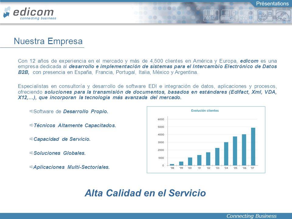 Connecting Business Con 12 años de experiencia en el mercado y más de 4,500 clientes en América y Europa, edicom es una empresa dedicada al desarrollo