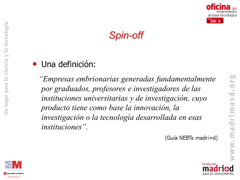 Spin-off Una definición: Empresas embrionarias generadas fundamentalmente por graduados, profesores e investigadores de las instituciones universitarias y de investigación, cuyo producto tiene como base la innovación, la investigación o la tecnología desarrollada en esas instituciones.