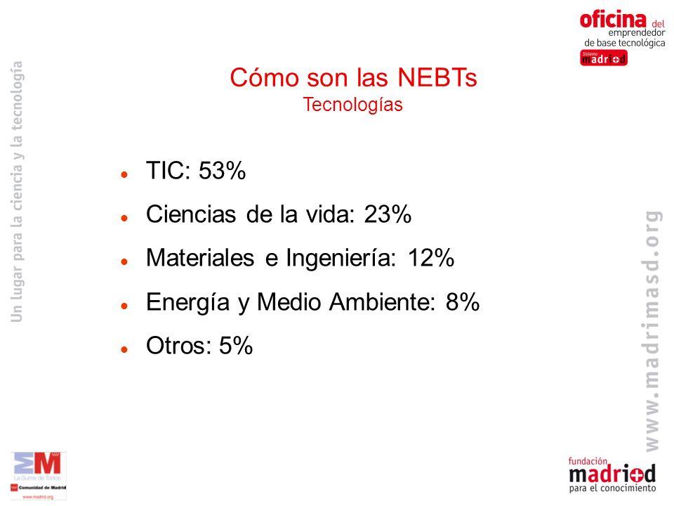 TIC: 53% Ciencias de la vida: 23% Materiales e Ingeniería: 12% Energía y Medio Ambiente: 8% Otros: 5% Cómo son las NEBTs Tecnologías