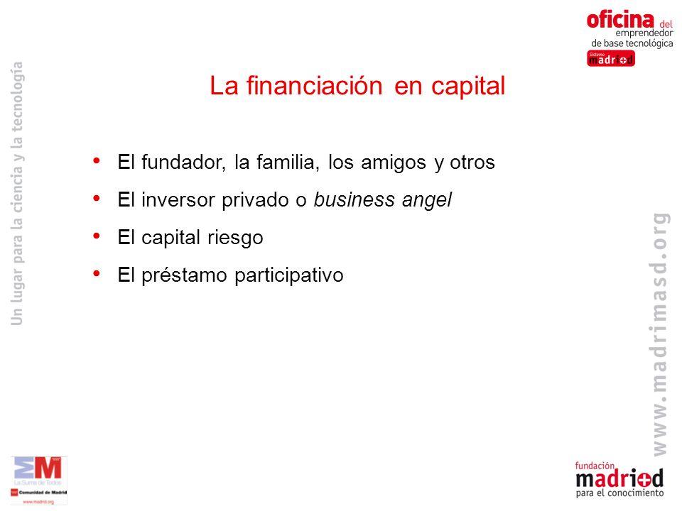 El fundador, la familia, los amigos y otros El inversor privado o business angel El capital riesgo El préstamo participativo La financiación en capital