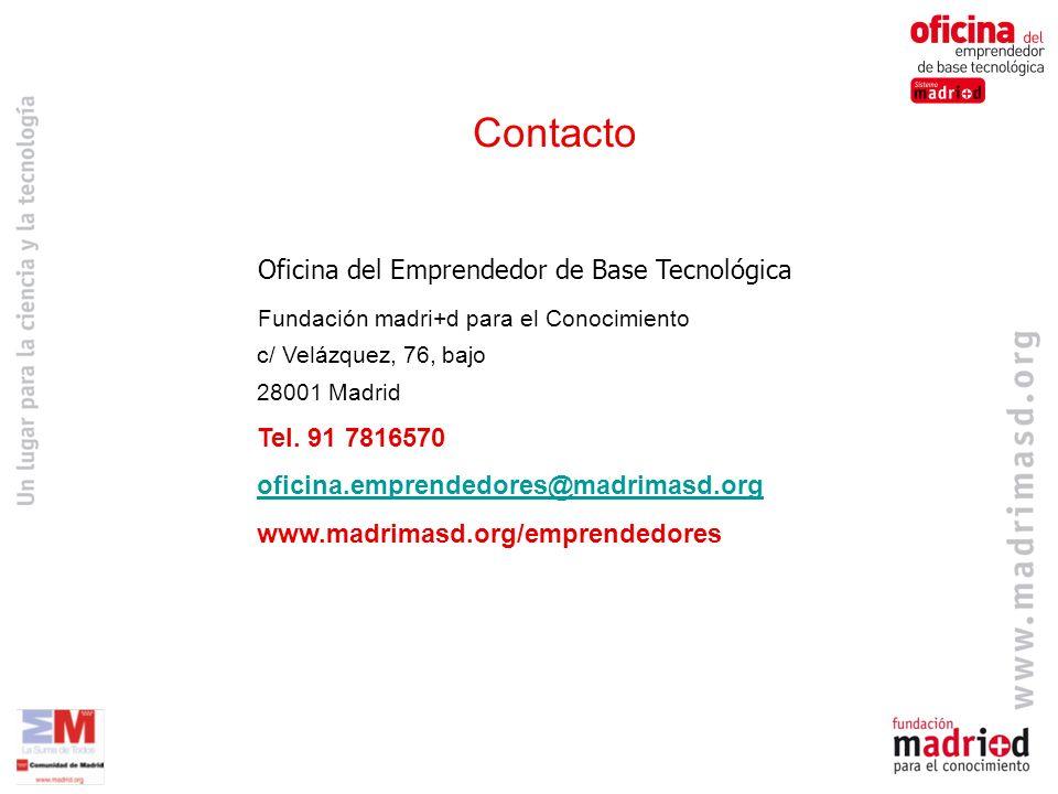 Oficina del Emprendedor de Base Tecnológica Fundación madri+d para el Conocimiento c/ Velázquez, 76, bajo 28001 Madrid Tel.